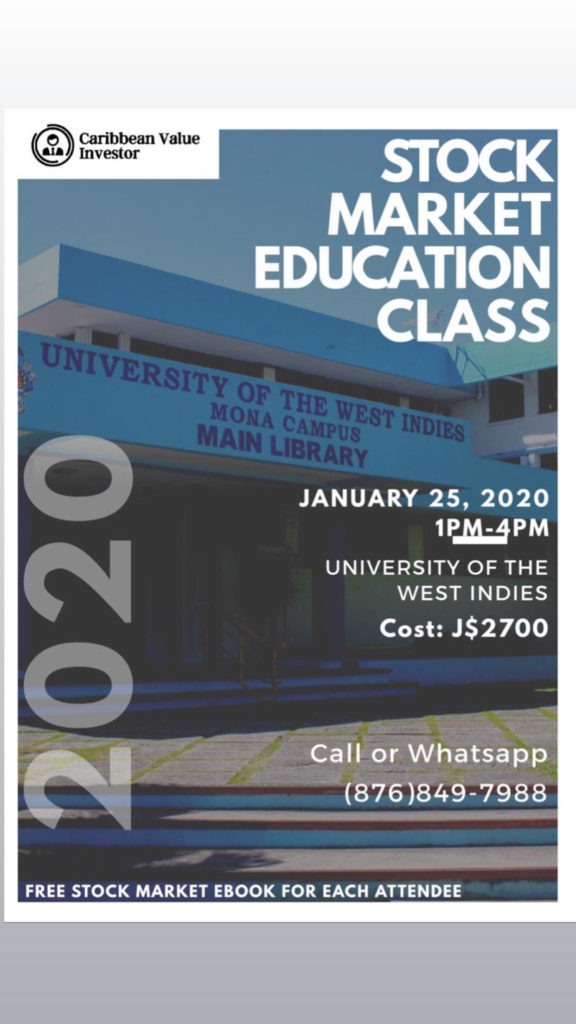 Stock Market Education Class 2020 - January Staging - Caribbean Value Investor